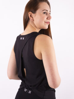 basic black open back top