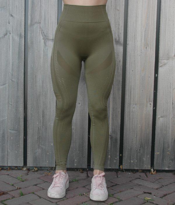 Seemless High Waist Legging Olive Details - Woman Nutrition