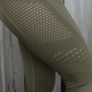 Seemless High Waist Legging Olive Details - Woman Nutrition