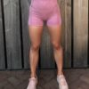 short pink seemless high waist woman nutrition
