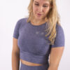 blue cropped t-shirt woman nutrition