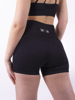 Basic black short details woman nutrition