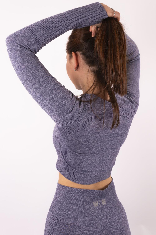 blue long sleeve top woman nutrition
