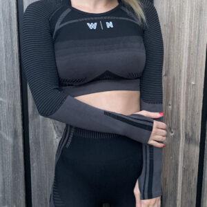 a/w zwarte sporttop longsleeve woman nutrition