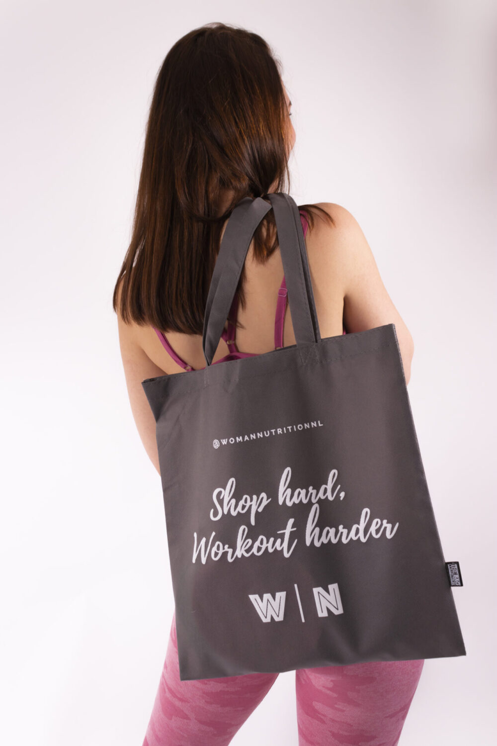 woman nutrition grey bag