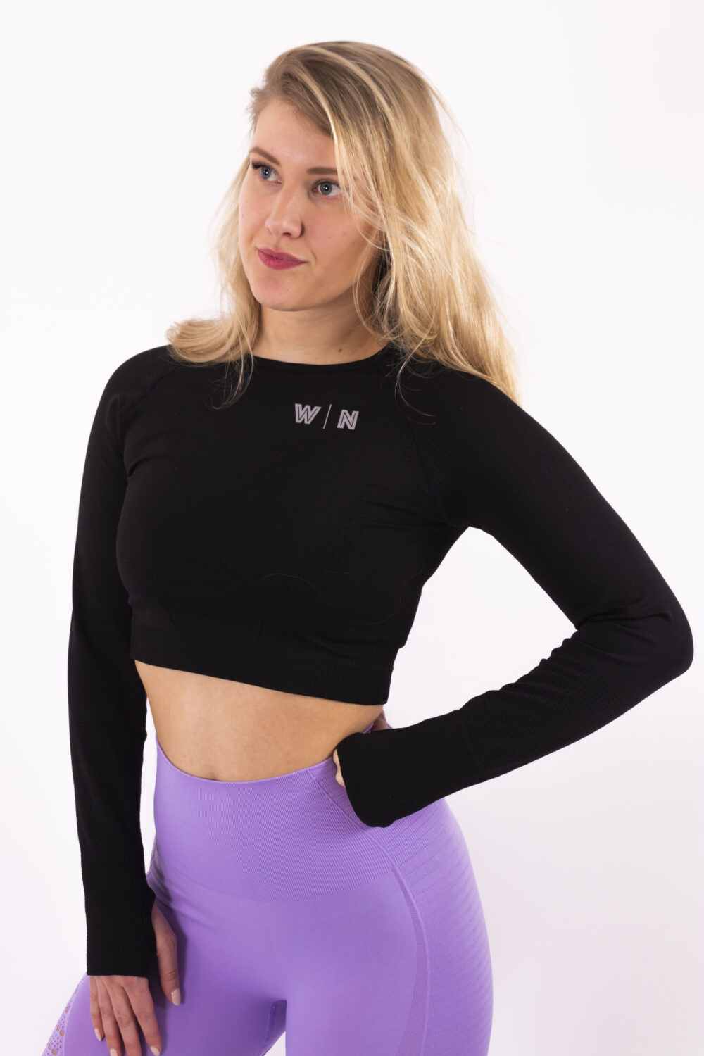 Basic black long sleeve top Woman nutrition