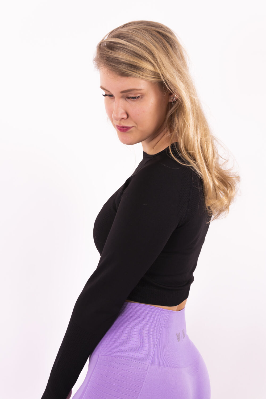Basic black long sleeve top Woman nutrition