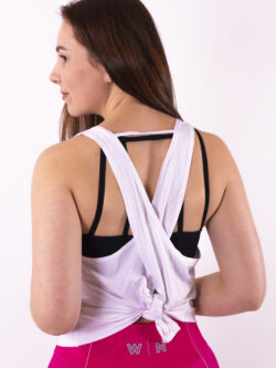 basic white top crossed back woman nutrition