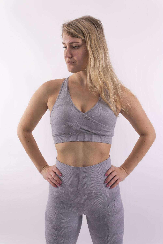 camo lichtgrijze sport-bh woman nutrition